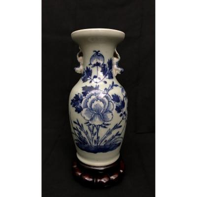 Fô Dogs Vase With Collar And Peonies Decor China