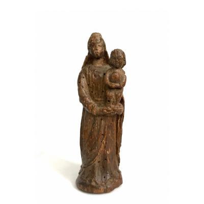 Vierge à l'Enfant En Bois Fin XVII Début XVIIl Eme