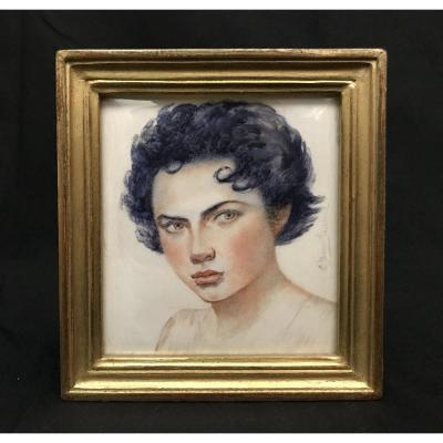 Painting Portrait Of Young Woman Before 1947