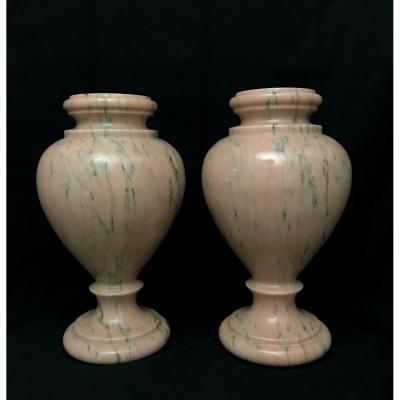 Pair Of Pink Marble Lamp Base