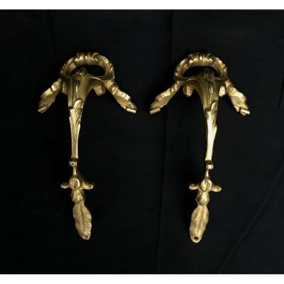 Paire De Décorations  En Bronze Doré Pour Vase Ou Coupe