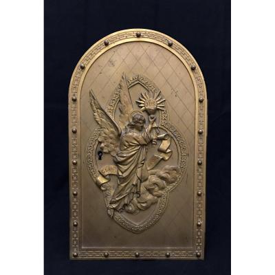 Old Tabernacle Door Gloris Deo In Gilt Bronze XIX Eme