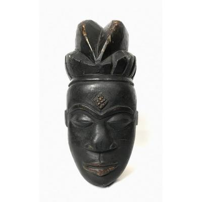 African Mask In Baule Wood Ivory Coast