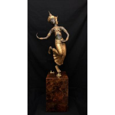 Large Statuette Of Thai Dancer In Bronze
