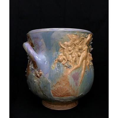 Louis Carrier Belleuse Circa 1900 Very Large Cache Pot Allegory Of Day And Night