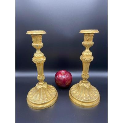 Pair Of Candlesticks 19 Eme Gilt Bronze
