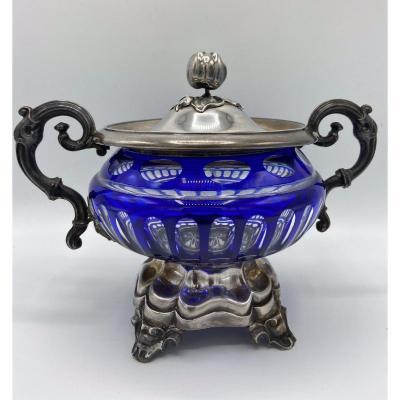 Silver Minerva And Crystal Sugar Bowl Napoleon III