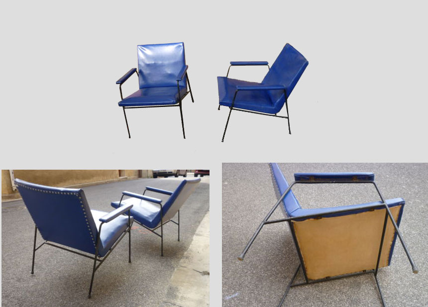 Armchairs Pair Of 1960 In A Metal Structure Lacquer Covered In Skai Blue Edition Steiner