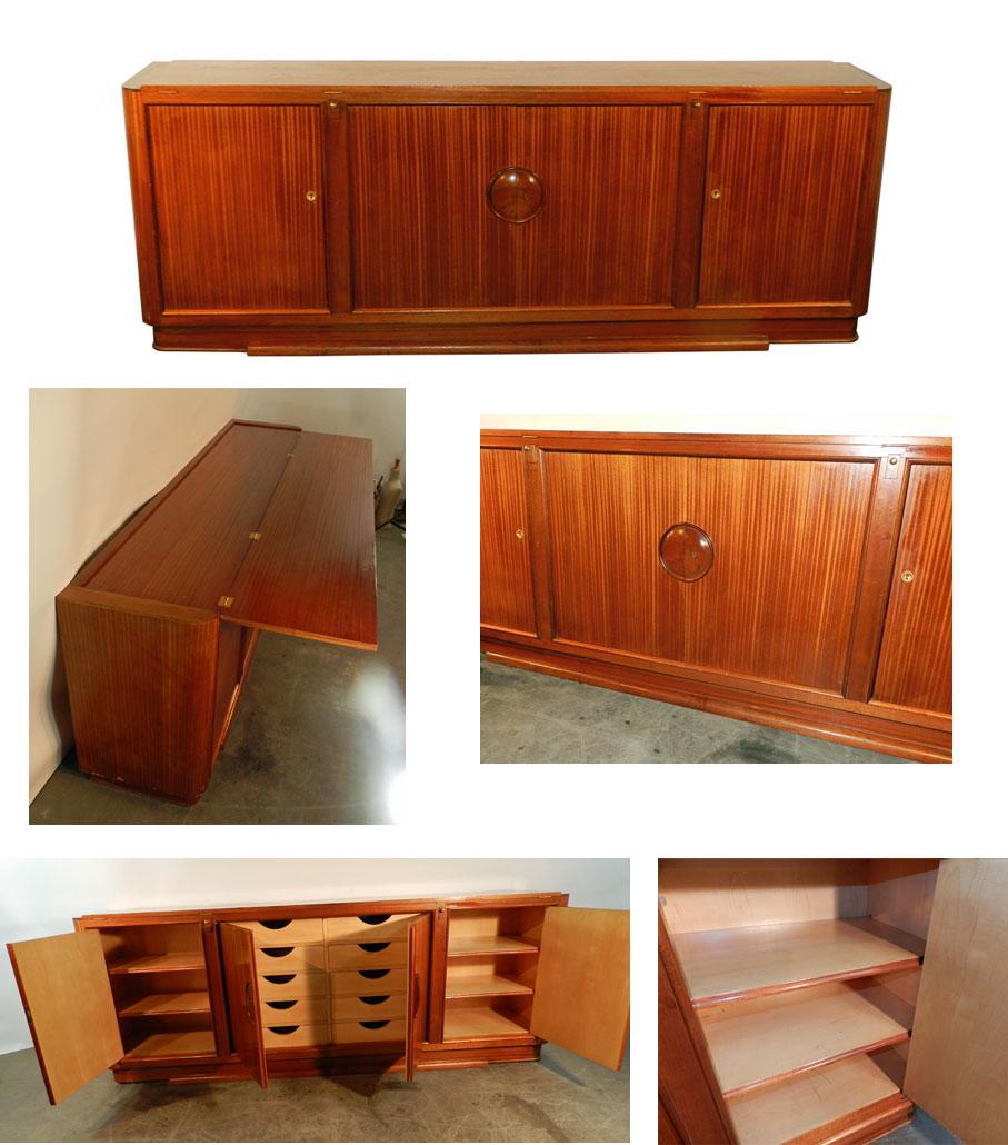 travail francais 1930 grande et elegante enfilade art deco en placage d 39 acajou interieur e. Black Bedroom Furniture Sets. Home Design Ideas