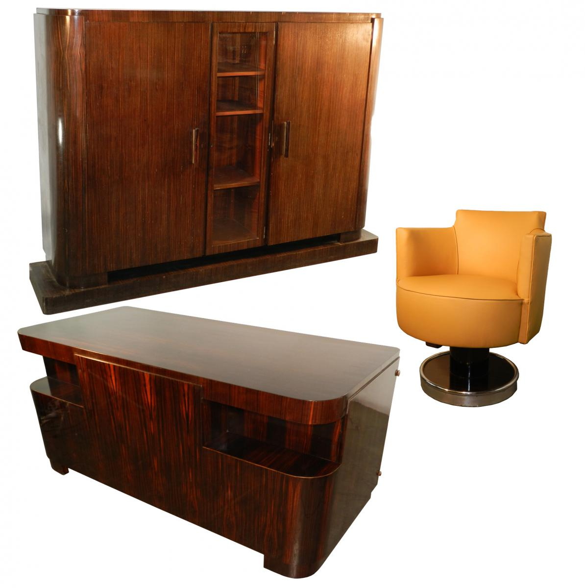 decoene freres cabinet travail d 39 epoque art deco en placage d 39 ebene de macassar bureaux. Black Bedroom Furniture Sets. Home Design Ideas