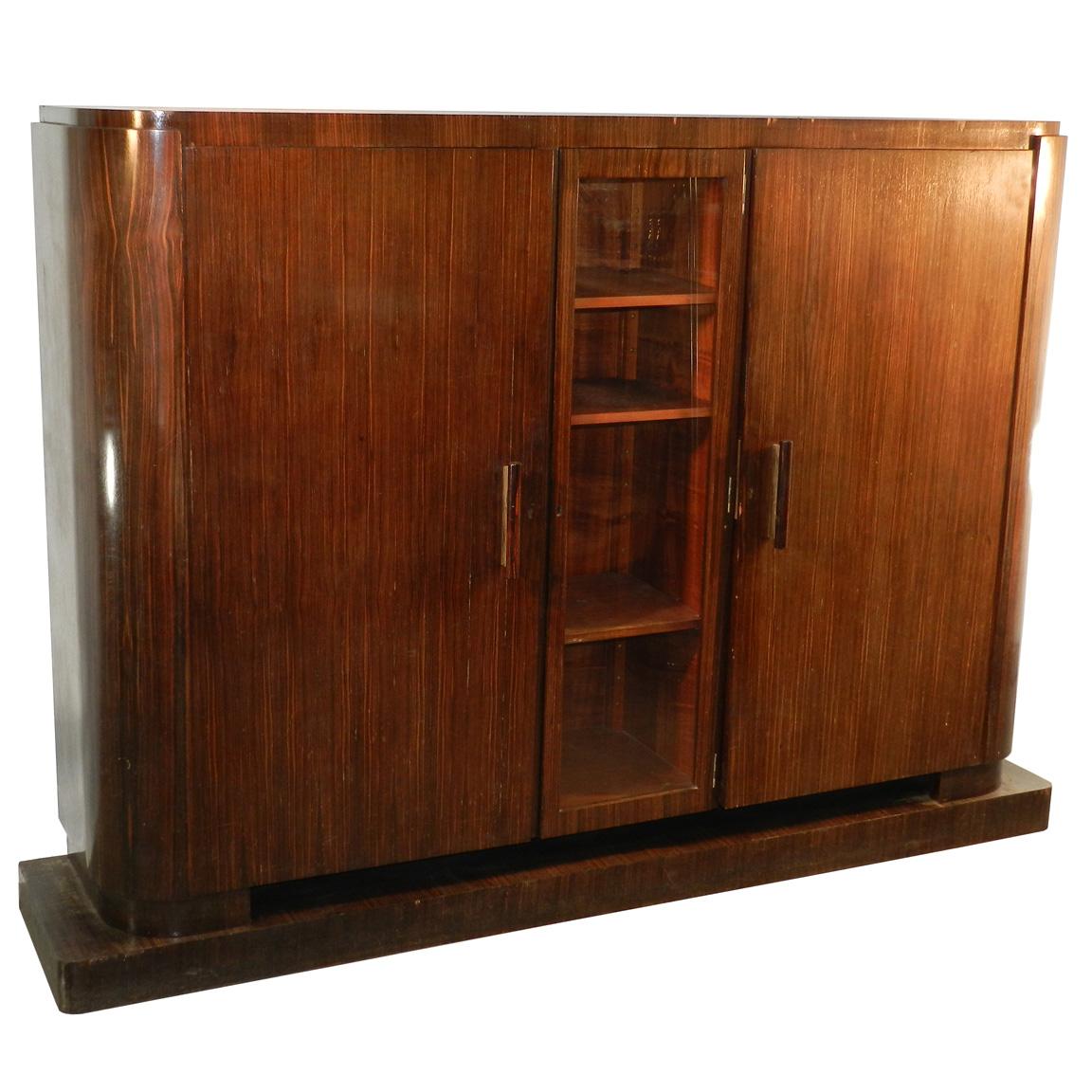 Decoene Freres, Cabinet Art Deco Ebene Veneer From Macassar-photo-4