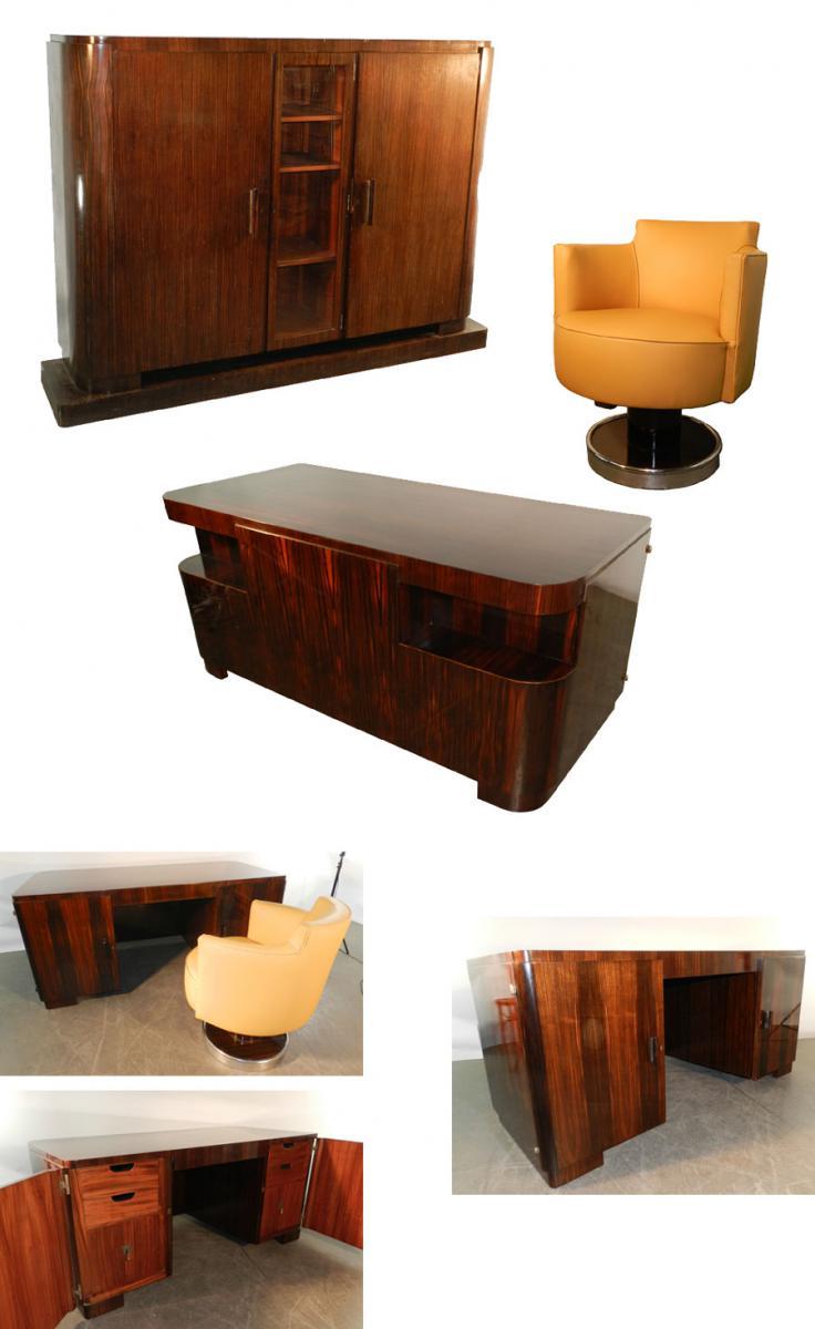 Decoene Freres, Cabinet Art Deco Ebene Veneer From Macassar-photo-3