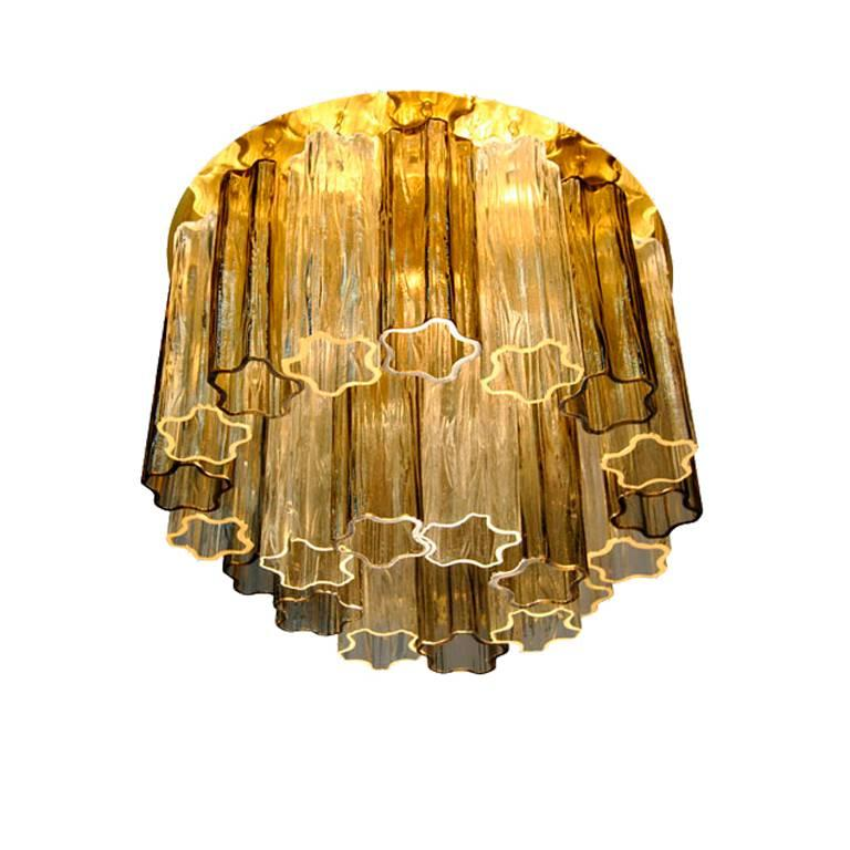 Chandelier / Ceiling Lamp 1970, Glass Shade And Metal, Kalmar Edition