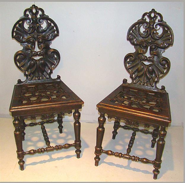 Paire De Chaises Baroque Louis XIII  , Circa 1900