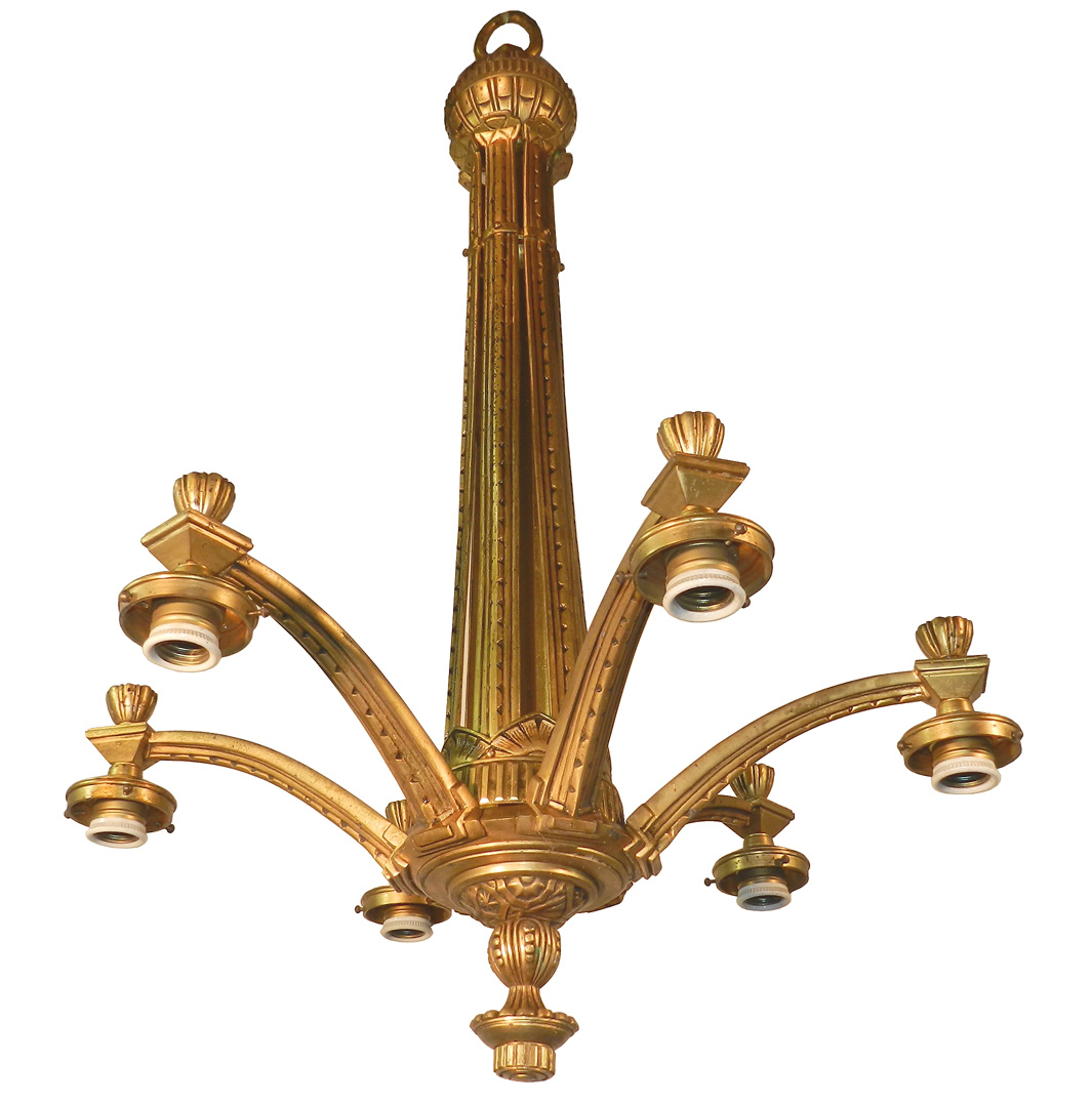 Chandelier Art Deco Bronze Era 1930