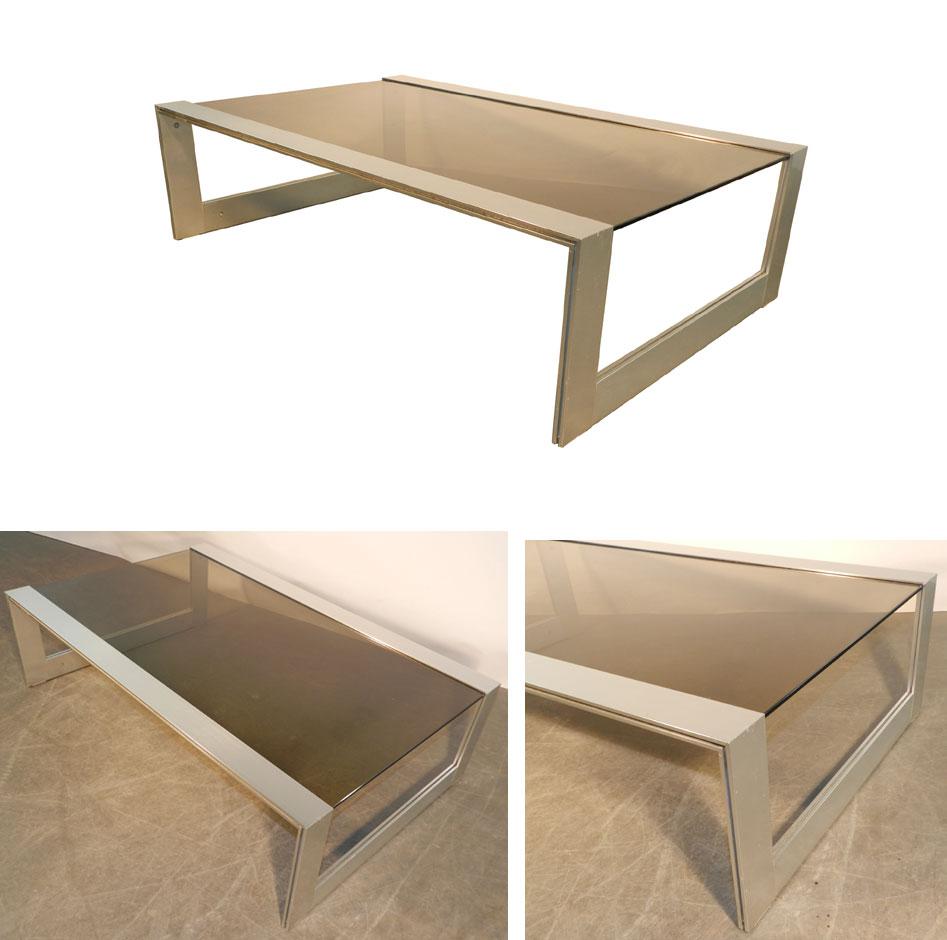 Jean Francois Sergeant, Living Table Aluminum Varnish And Glass Tint-photo-2