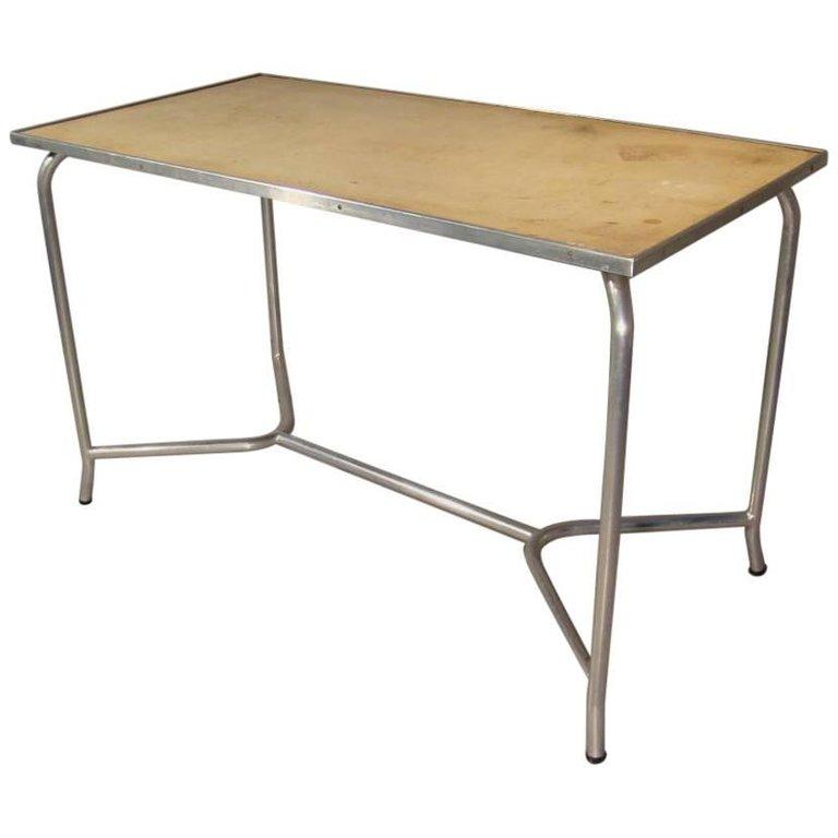 Table Art-deco Moderniste En Aluminium, Vers 1930/1950