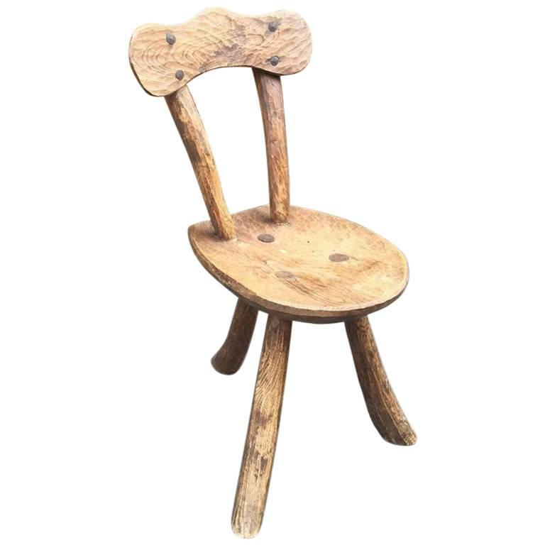 Brutalist Chair In Solid Elm, Circa 1950