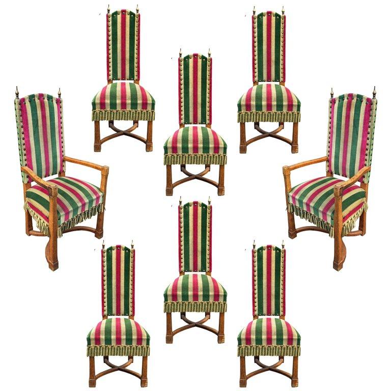 Suite Of 8 Brutalist Seats In Oak Circa 1950