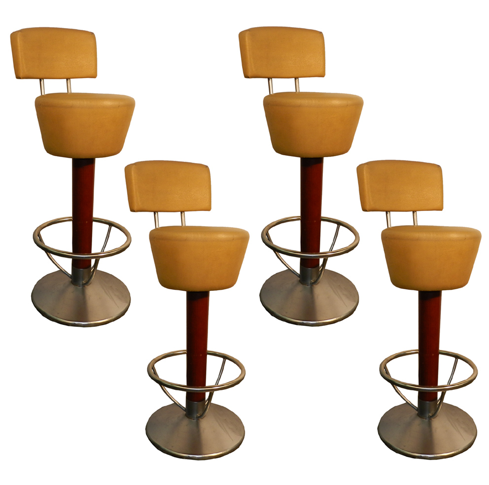 Suite Of 4 High Bar Stools, Structure Aluminum And Chrome, Fut Wood Tint Around 1970
