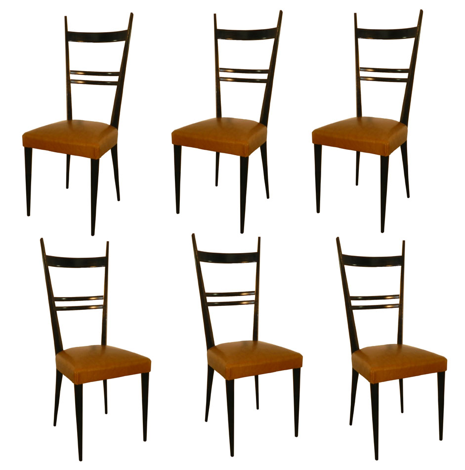 French Work Suite Of 6 Chairs With High Backs Style Gio Ponti