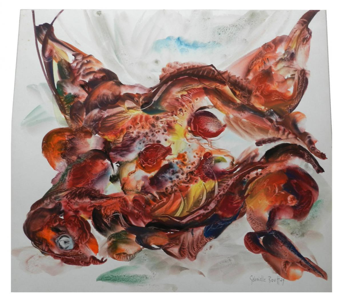 Gabrielle Bouffay ,  Aquarelle Sur Papier Circa 1970