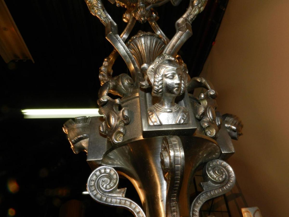 Grand Lustre 19eme En Bronze Argenté,décor De Personnages -photo-2