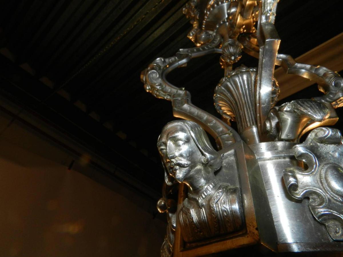 Grand Lustre 19eme En Bronze Argenté,décor De Personnages -photo-3