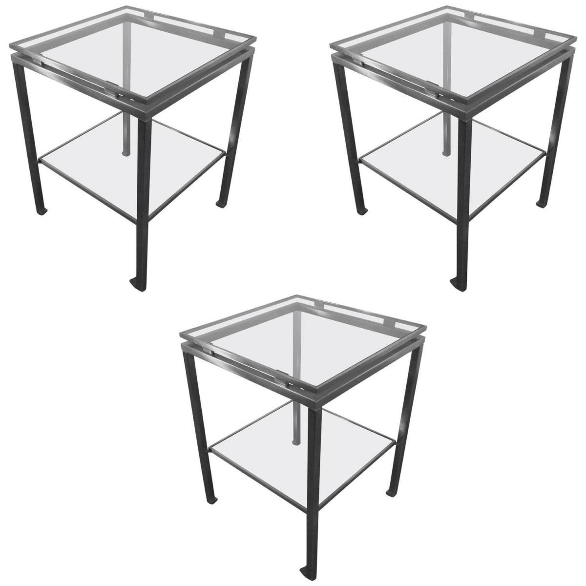 Guy Lefevre. Série De 3 Tables d'Appoint En Acier Brossé Et Verre Teinté. Maison Jansen.