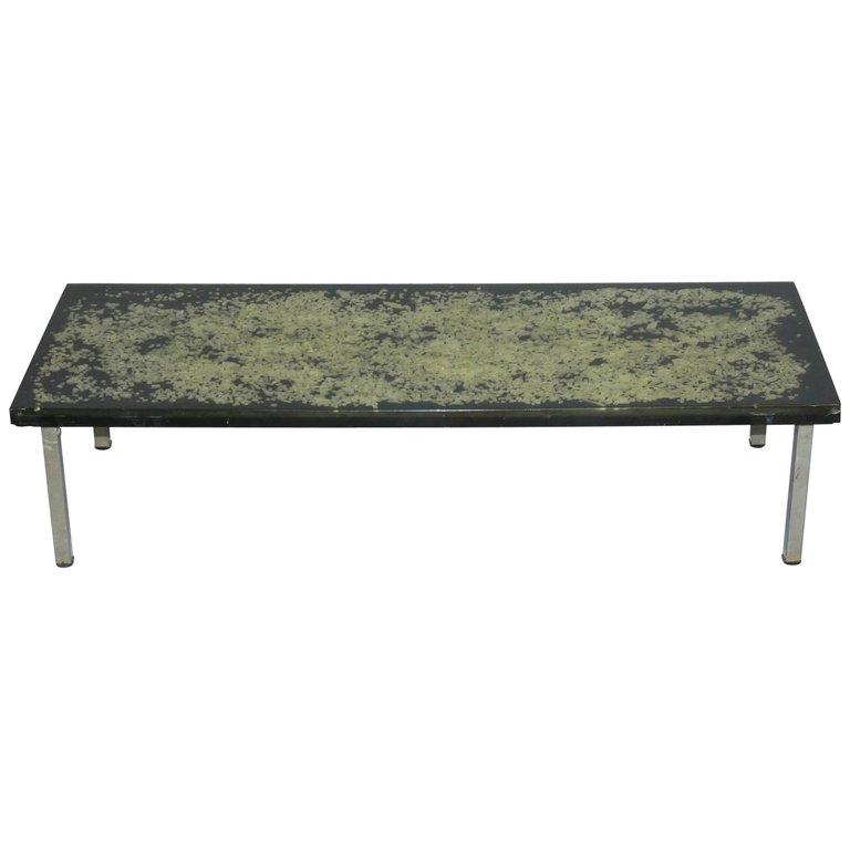 Table De Salon , Plateau En Résine Circa 1970, Style Giraudon, De Fouquières