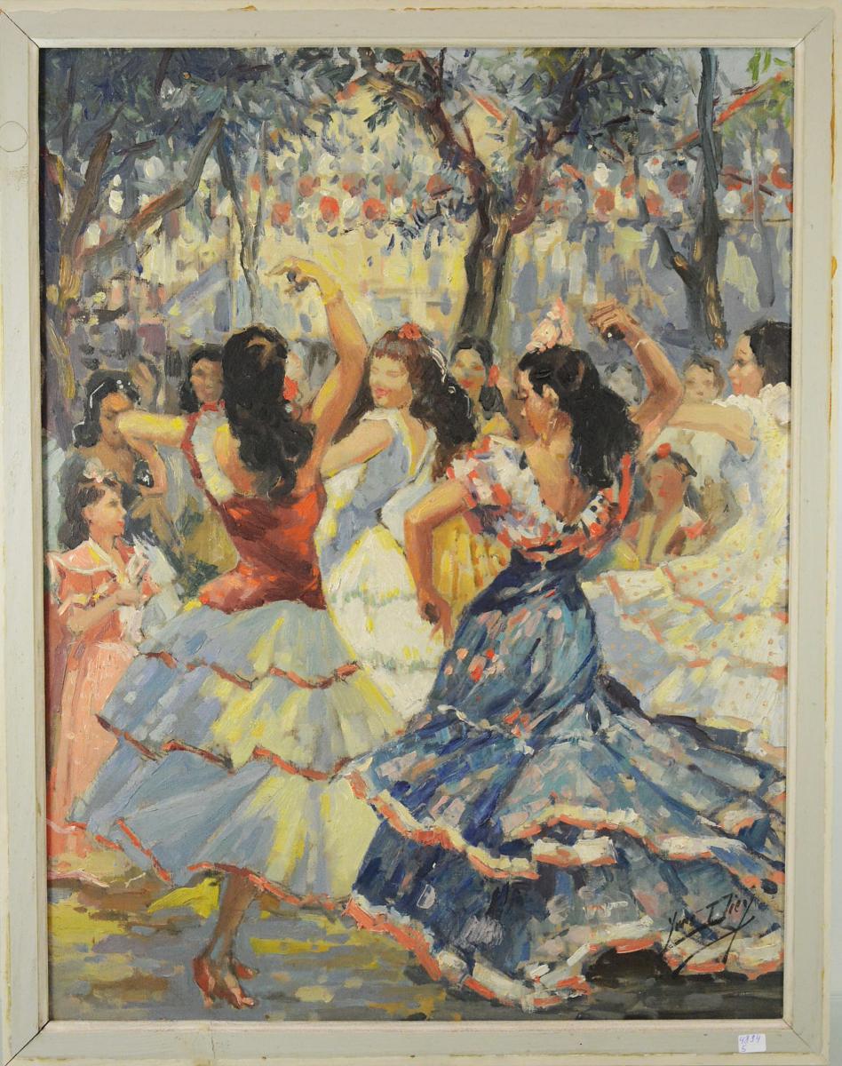 """Yves Diey """"flamenco"""", Oil On Canvas Art Deco Period, Circa 1940"""