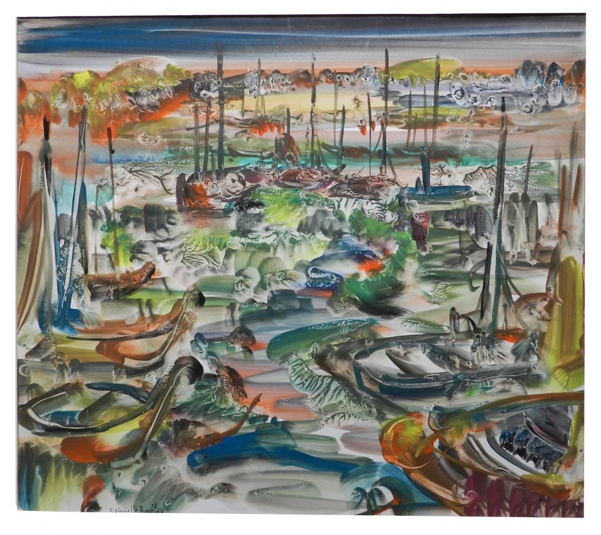 Gabrielle Bouffay, Saint Tropez. Watercolor Gouache. Circa 1970