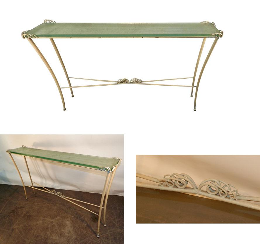 Table Console Art Deco En Métal Laqué Et Verre. 1940/1950. -photo-2