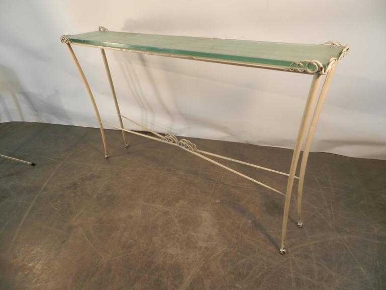 Table Console Art Deco En Métal Laqué Et Verre. 1940/1950. -photo-3