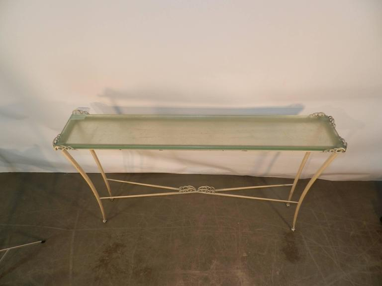 Table Console Art Deco En Métal Laqué Et Verre. 1940/1950. -photo-1