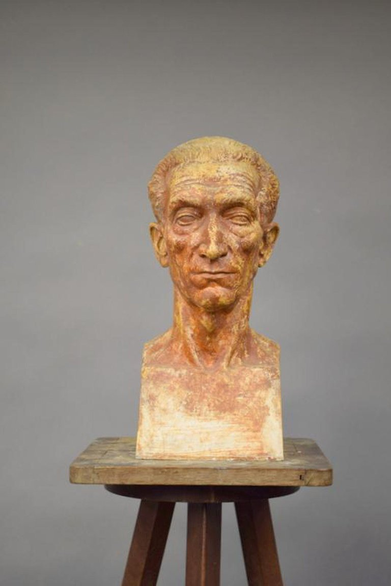 """Ernestine Sirine-real (1899-1994) """"bust"""". Patinated Plaster, Signed And Dated 44."""