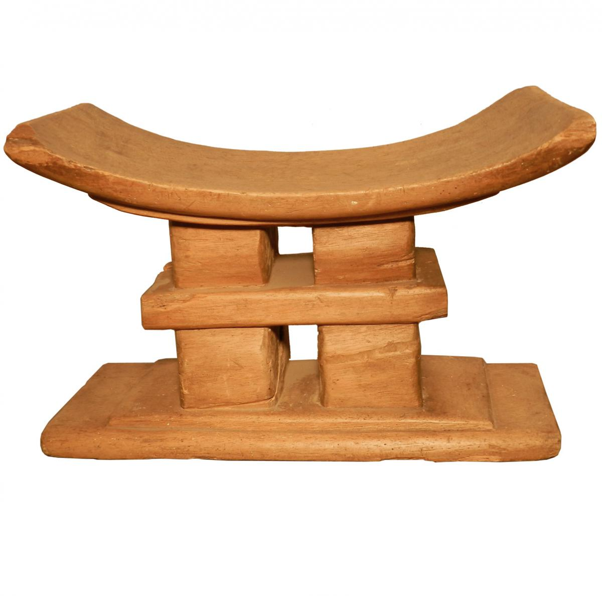 African Work, Old Carved Wooden Seat, Wear Of Use