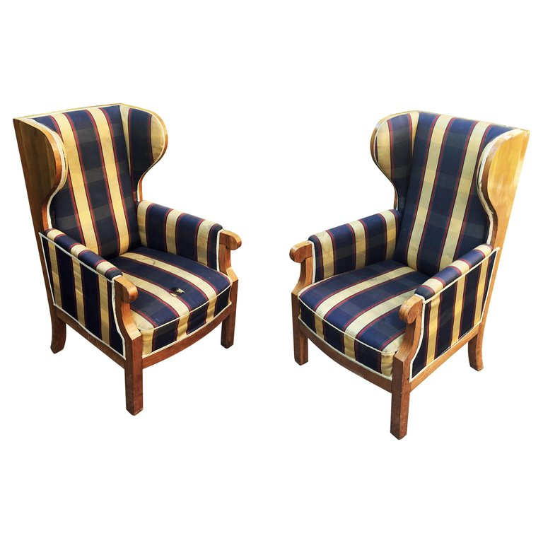 Old Large Armchairs With Walnut Ears, Can Be A Scandinavian Work