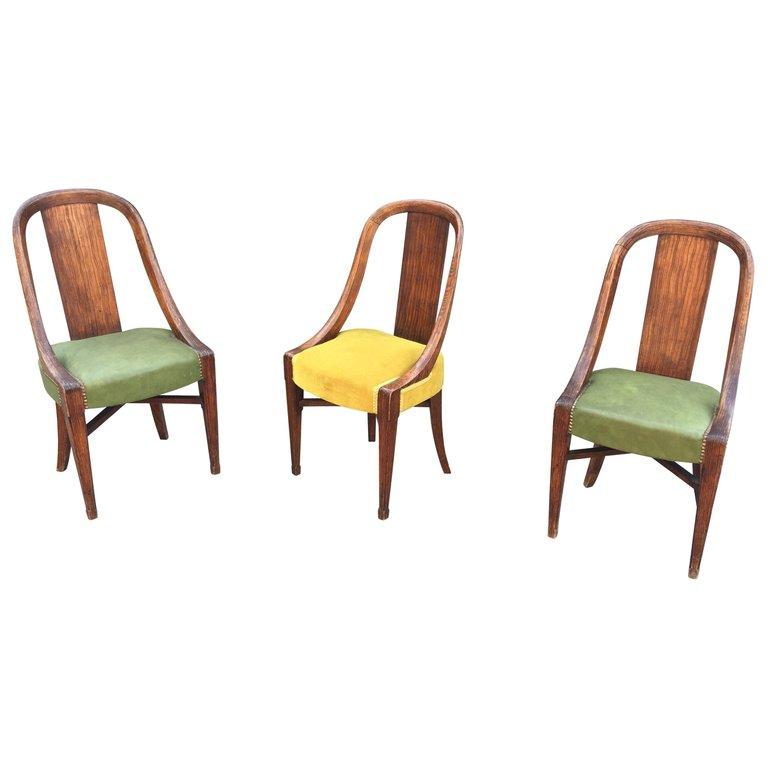 3 Originales Chaises Art Deco, Circa 1925, Decor Faux Bois