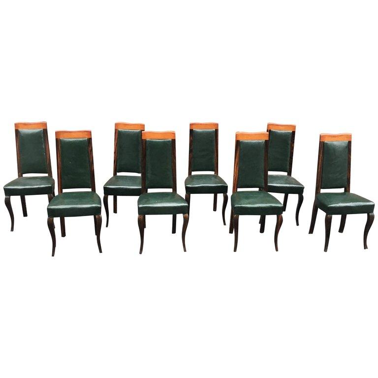 Suite De 8 Chaises Epoque Art Deco En ébène De Macassar Et Cuir Circa 1930