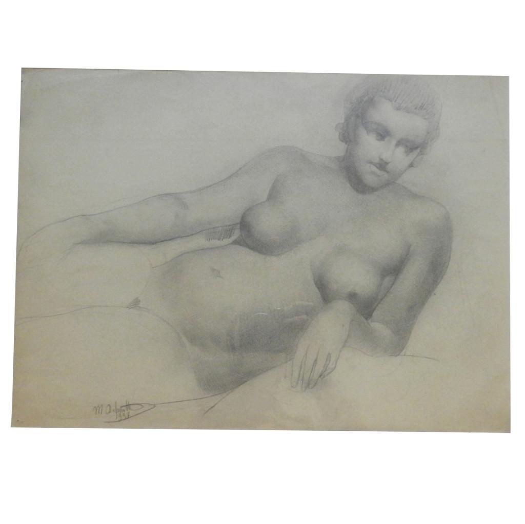 """Marcel Delmotte (1901-1984) """"nu Couché"""", Dessin Signé M. Delmotte Et Daté 1937"""