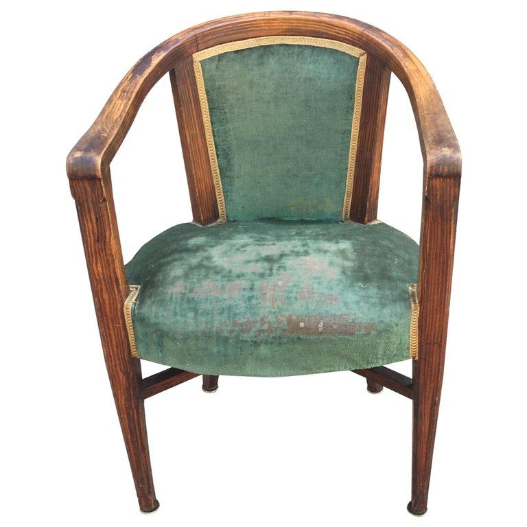 1 Armchair Art Deco, Circa 1925, Decor Faux Wood