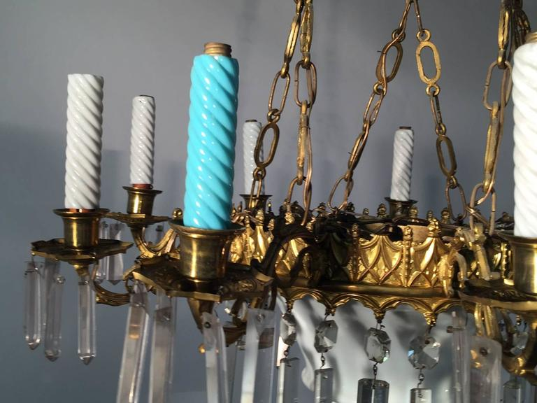 Lustre 1900, En Céramique, Cristal Et Laiton -photo-2