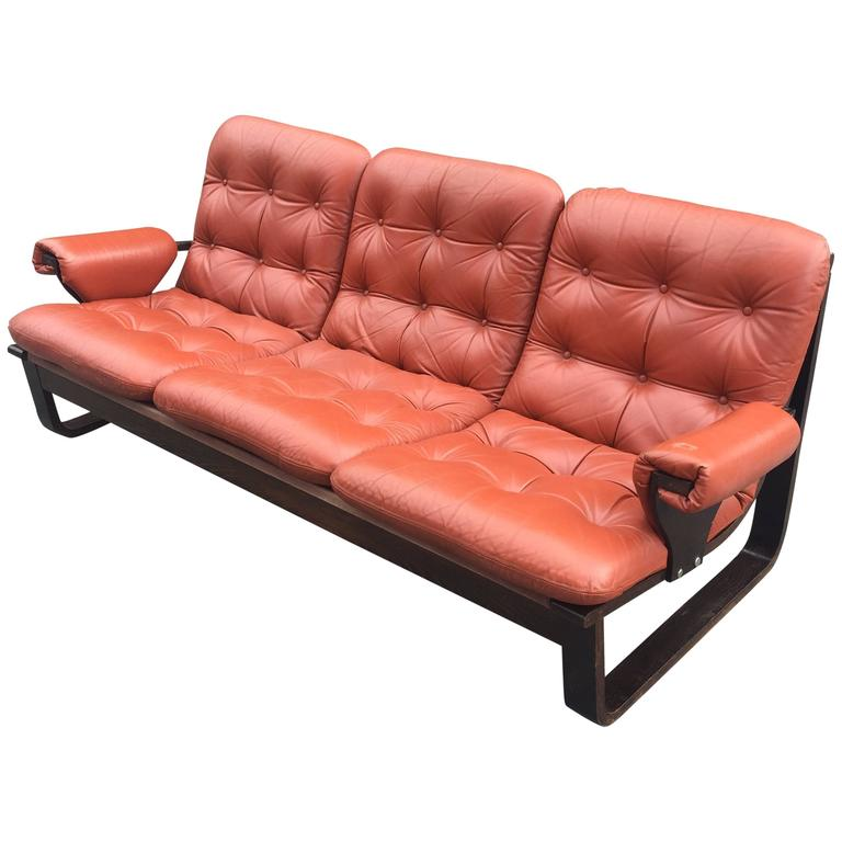 1970 Sofa In Lamellate Wood And Orange Red Leather, Scandinavian Style
