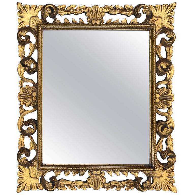 Neo Baroque Mirror In Golden Wood Circa 1950