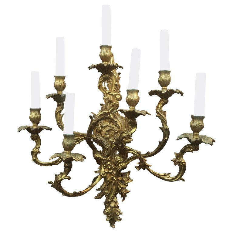 Large Wall Lamp In Bronze Louis XV Style 7 Lights Circa 1950