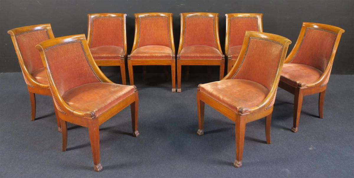 Suite Of 8 Chairs Style Restoration In Cherry, Feet Sheaths With Claws