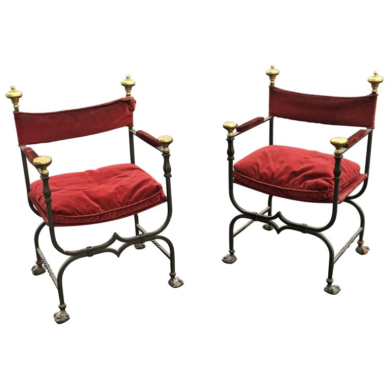Pair Of Antique Armchairs Curulles Wrought Iron And Brass Circa 1900/1920