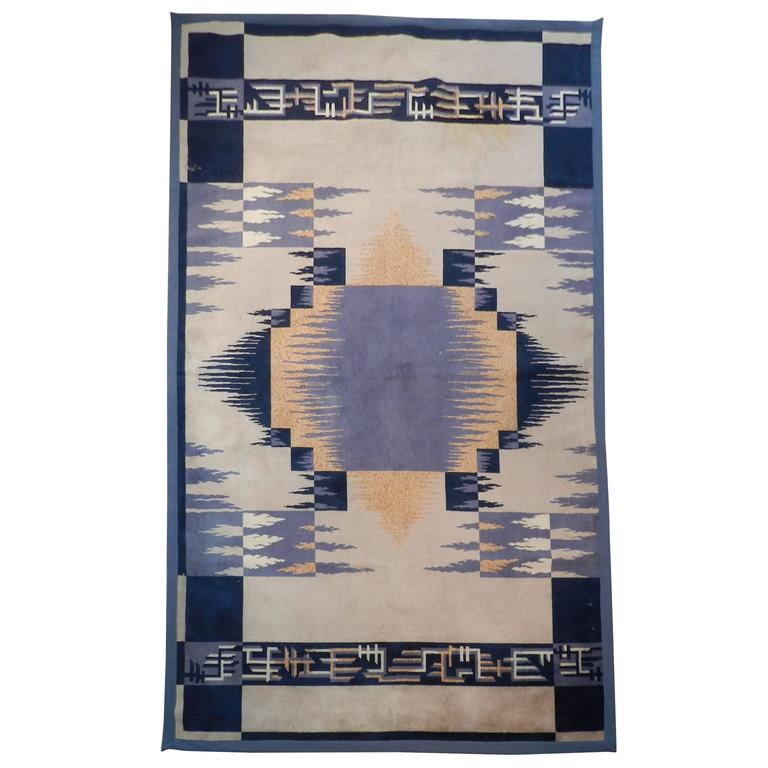 Large Wool Rug Epoque Art-deco Circa 1930