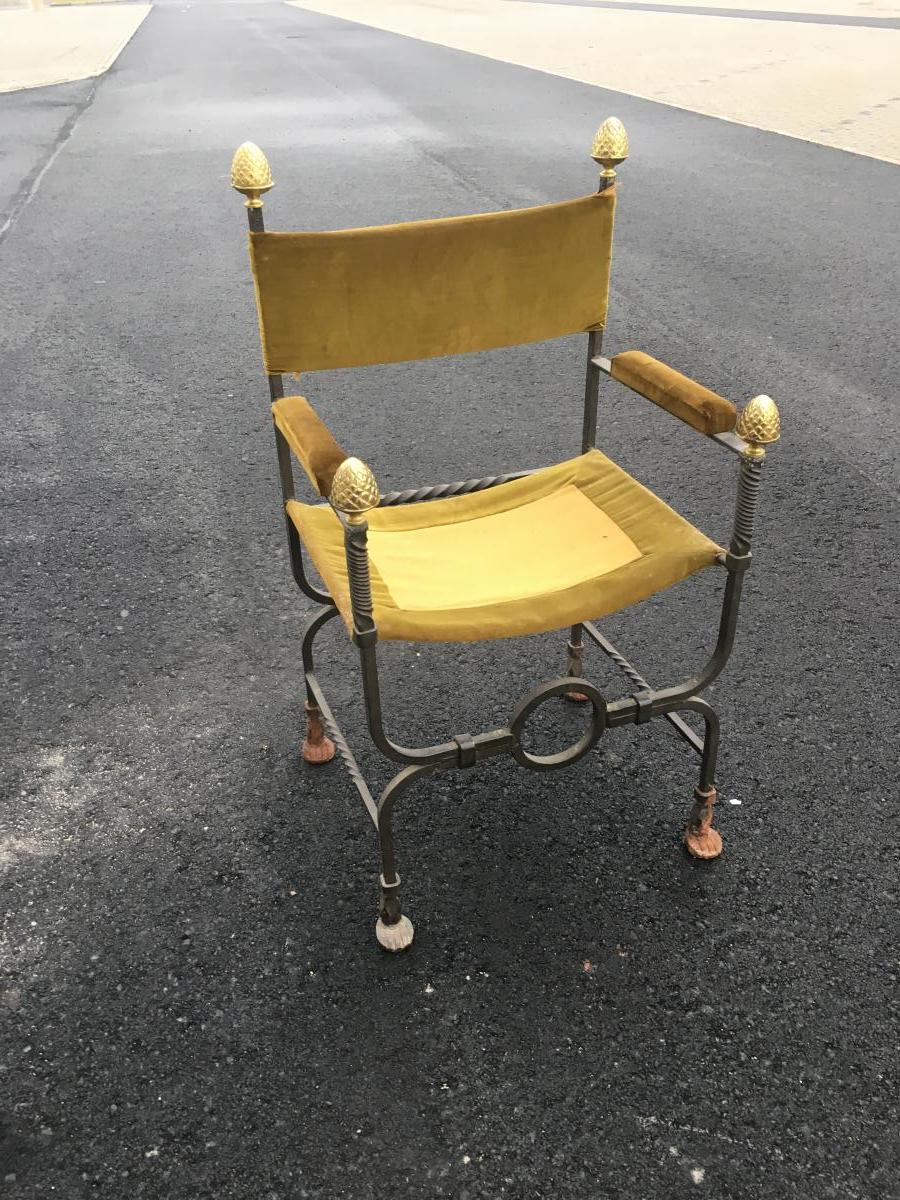 Old Curule Armchair In Wrought Iron And Brass Circa 1900/1920-photo-2